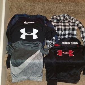 4 boys shirts and 1 hoodie